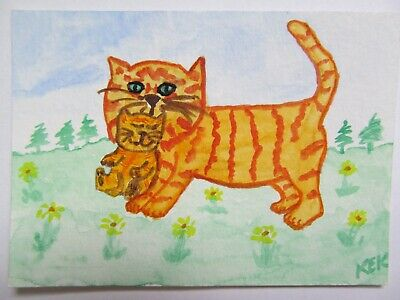 ACEO Original Watercolor Cat Mama Kitty Carrying Kitten Free Ride No 80 by KEK