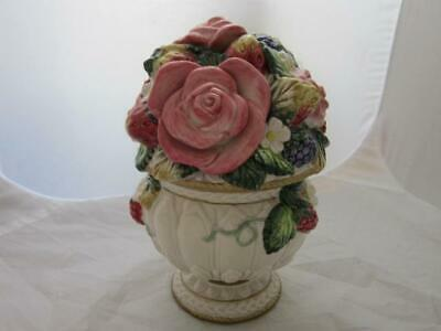Fitz and Floyd Classic Trinket Jar with Lid  BERRIES & ROSES