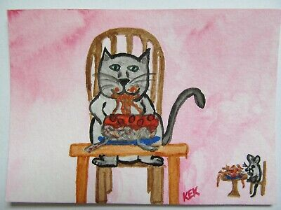 ACEO Original Watercolor Cat Mouse Eating Spaghetti and Meatballs No 81 by KEK