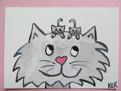 ACEO Original Watercolor Cat Mama Kitty Kittens A Good Hair Day No 83 by KEK