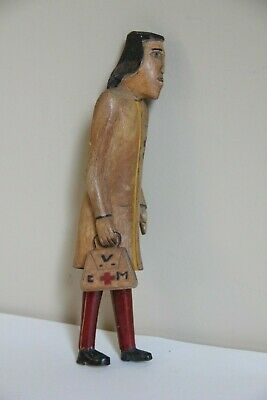 C.V.M. Medical Doctor Carved Wood Folk Art Figure Man Vtg Painted