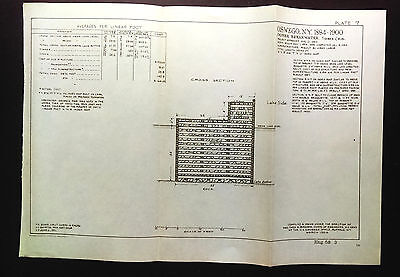 1904 Sketch Diagram Oswego NY Outer Breakwater Using Creosote GA Pine
