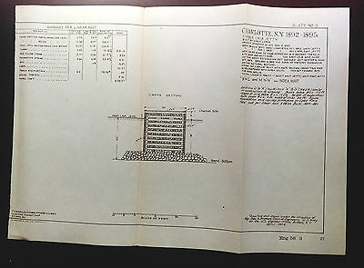 1904 Sketch Diagram Charolotte NY Timber Crib Jetty Built by Hired Labor