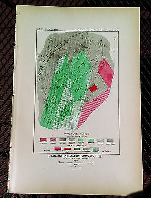 1899 USGS Geological Map of Orenaug Hill Woodbury Cannon Hill Connecticut