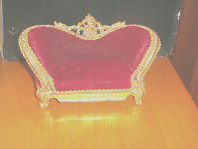 Vintage fancy looking victorian Wood Red Velvet Toy Doll Couch we ship fast