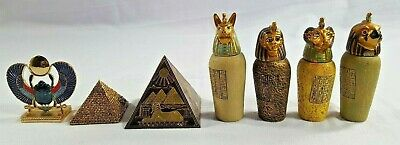 Egyptian Legend Four Sons Of Horus Canopic Jars Scarab Pyramids Relic Gifts