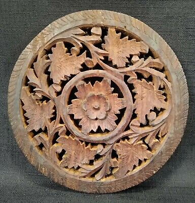 Decorative Carved Ornate Round Wood Wall Plaque Decor Boho 7""