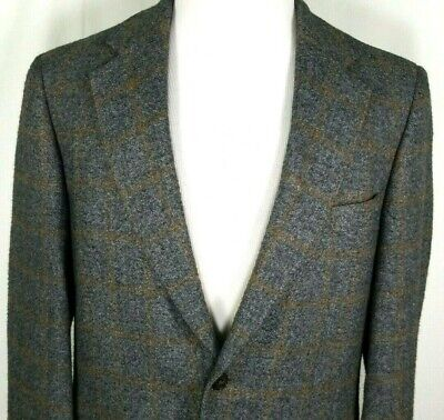 Brooks Brothers Mens Camel Hair Sport Coat Size 40 Regular Gray Brown Plaid USA
