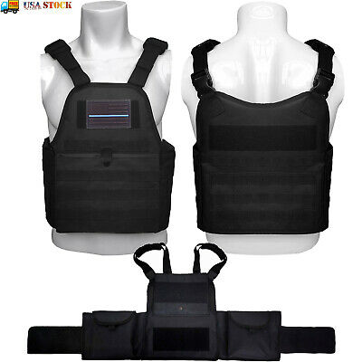 Molle Tactical Vest Adjustable Police SWAT Military Combat Plate Carrier Black