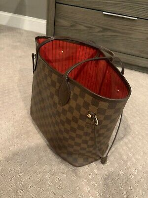Louis Vuitton Neverfull MM N41358 Damier Ebene Canvas - Red- 100% Authentic