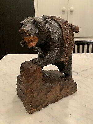 "Vintage Hand Carved Wood Bear Fish Statue Black Forest 10.75"" Folk Art Animal"