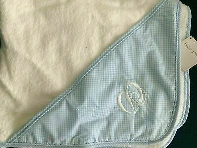 New Baby Dior Layette Hooded Towel Washcloth Mitten Blue white cotton terry