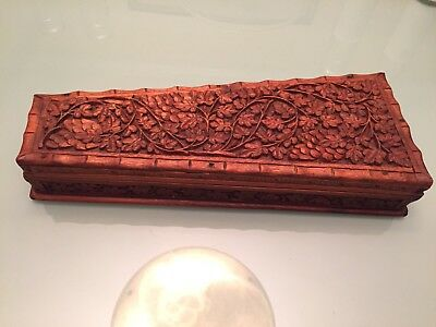 New Unique Hand carved Walnut Wood Tie or collectibles Jewelry Box from Kashmir