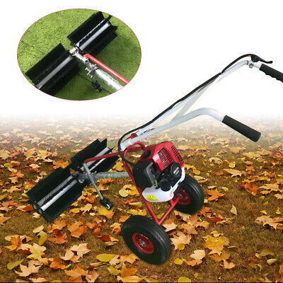 43Cc Gas Power Sweeper Broom Hand Held Concrete Cleaning Driveway Walk Behind