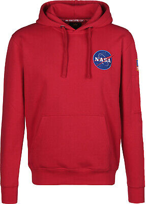 Alpha Industries Remove Before Flight NASA Mens  Hoodie RED Size M