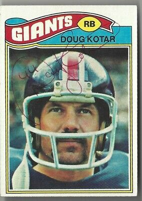 DOUG KOTAR Deceased 1983 SUPER RARE NEW YORK GIANTS 1977 TOPPS SIGNED CARD #324