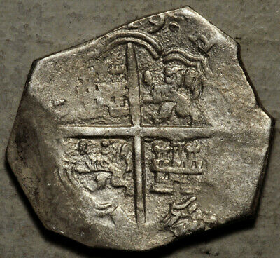 Spain Silver Cob 4 Reales 1619 (Clearly Visible Date 19) Pirates Coin