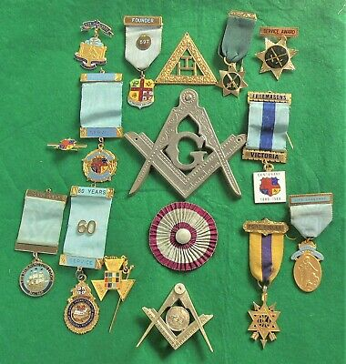 Collection (lot) of Masonic jewels (medals) & associated items.