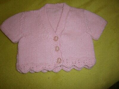 Brand New  Hand Made Knitted Pink Baby Girl Crop Cardi 3-6 Months