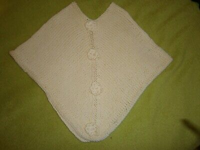 Brand New  Hand Made Knitted Lemon Baby Girl Poncho 3-6 Months