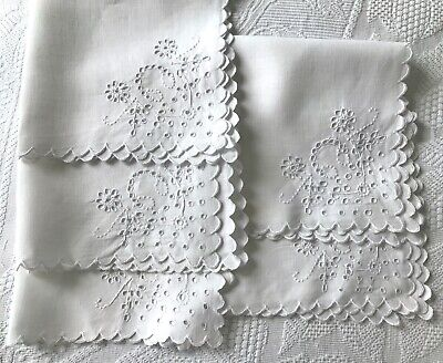 Dainty White Linen Serviettes (5) Hand-Embroid, Cutwork Brod. Anglaise, Scallops