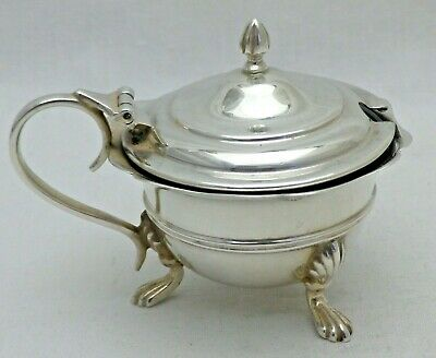 Antique Sterling Solid Silver Round Lidded Mustard Pot on 3 Legs 1906 1296/A/YOA