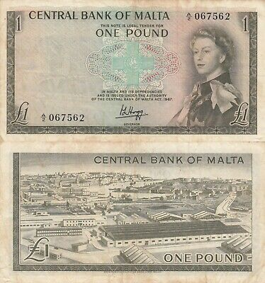 Malta 1 Pound Queen RARE Banknote (What you see is what you get)