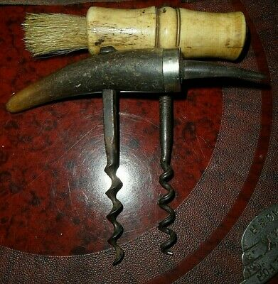 antique Cork Screws - mid Victorian bone handle Horse hair brush. Horn handle gc