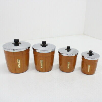 4x Waratah Deluxe Metal Wood Effect Labelled Food Storage Containers & Lids #544