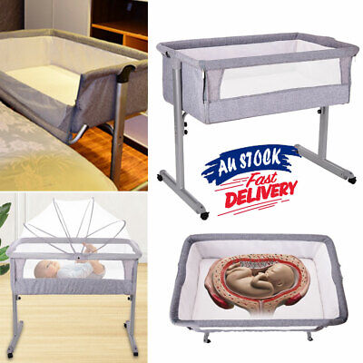 0-3 Years SLEEPING BASSINET Folding Travel Cot Portable Portacot SIDE ACB#