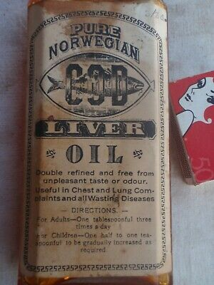 Norwegian Cod Liver Oil  Bottle labelled, bakelite Cap  c 1940