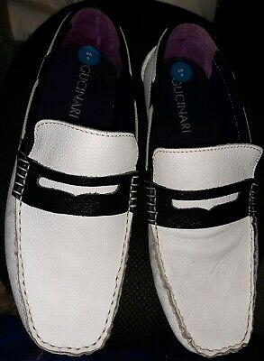 Mens Gucinari Black and White Leather Loafer Shoes UK Size 8 Brand New