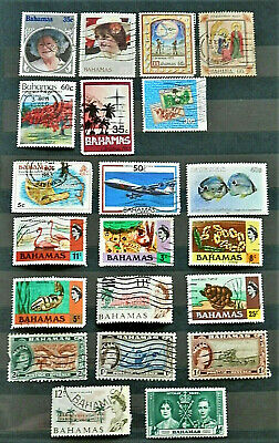 Lot Of 21 Old British Colony Stamps Bahamas Very Good , Used