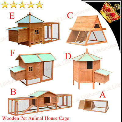 Wood Pet Rabbit Hutch Bunny Guinea Pig Ferret Run Small Large Animal House Cage