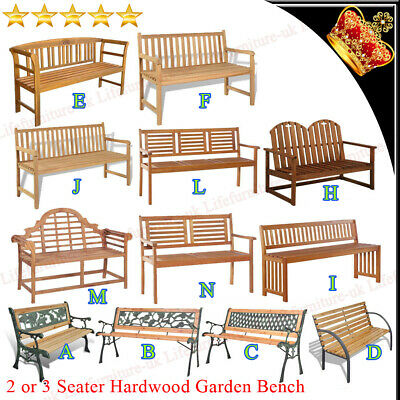 2/3 Seaters Hardwood Garden Bench with Backrest Outdoor Patio Weather Treated UK