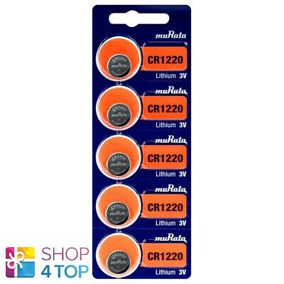 5 Murata Cr1220 Lithium Batteries 3V Cell Coin Button Ecr1220 Exp 2029 Sony New