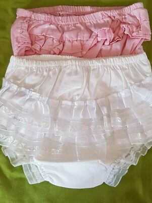 2x Frilly Pants - 6-12 Months White 9nes - 6- 9 Months Pink Ones - New