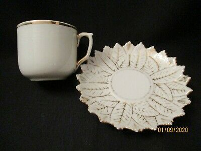 VTG 1900s HAND PAINTED SCALLOPED Miniature DEMI TEA CUP/SAUCER GILT-GERMANY