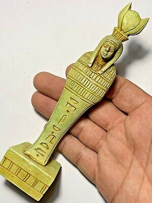 Intact Egyptian Glazed Shabti Statue Circa 700-500 BC With Hieroglyphics 170mm