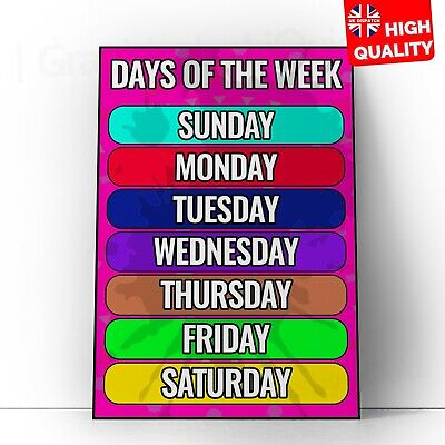 CHildrens Wall Chart Days Of The Week School Education Print Revisiong Chart
