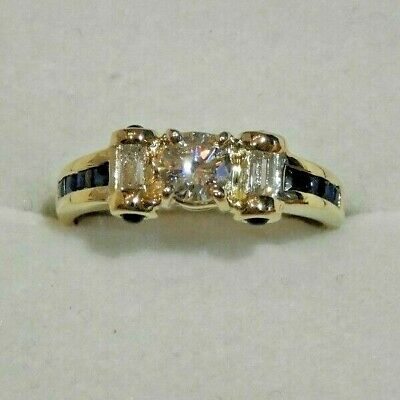 14K Yellow Gold with Diamonds & Sapphires Ring Size 7