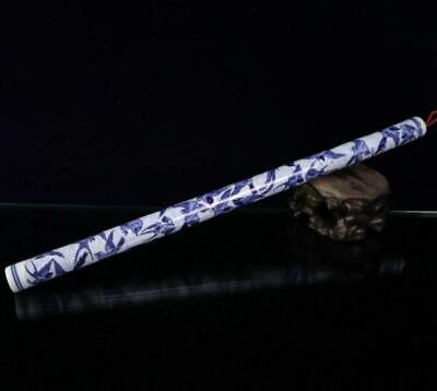 China old hand-made Blue & white Porcelain Hand painted bird Flute /Wc02