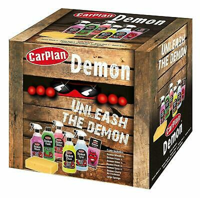 Unleash The Demon Car Cleaning Valet Gift Pack Tyres Wheels Shampoo Shine Cloth