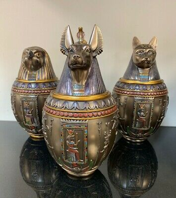 COLLECTION Of THREE! (3) Anubis Bastet Horus Egyptian Canopic Jars GREAT GIFT!
