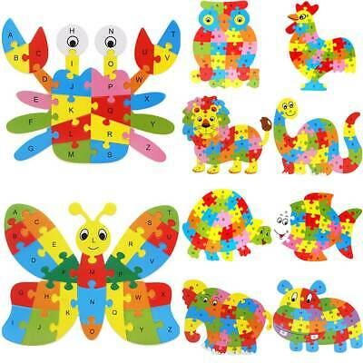 Wooden Puzzle Baby Kids Jigsaw Alphabet Letter Animal Learning Children Toy Gift