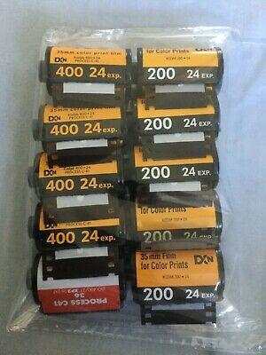 10x 35mm Metal Film Canisters EMPTY Kodak Ilford 200 400 ISO ASA 24exp 36exp Can
