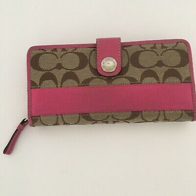 Coach Wallet Pink Brown Signature Clutch 7.75 in.x 4.25 Fabric Leather Zip Snap
