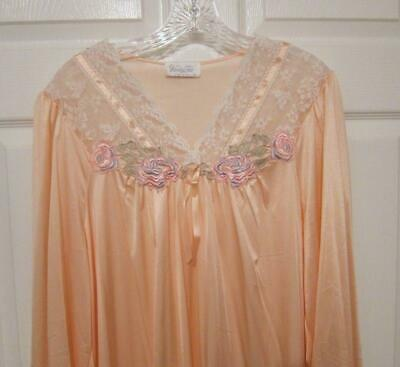 NWT Vanity Fair DREAMSICLE PEACH Silkenique Silky Satiny Nylon Lace Nightgown M