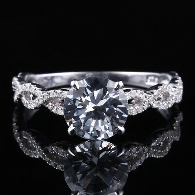 8mm Round Cubic Zirconia Engagement Wedding Vintage Twisted Ring 14k White Gold