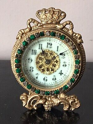 Antique New Haven Crowned Rhinestone Jeweled Novelty Mantle Clock